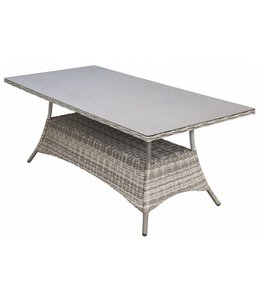 4 Jahreszeiten Gartenmöbel Gartentisch  Milano 160x90cm | Ash Grey | Wicker & Keramik