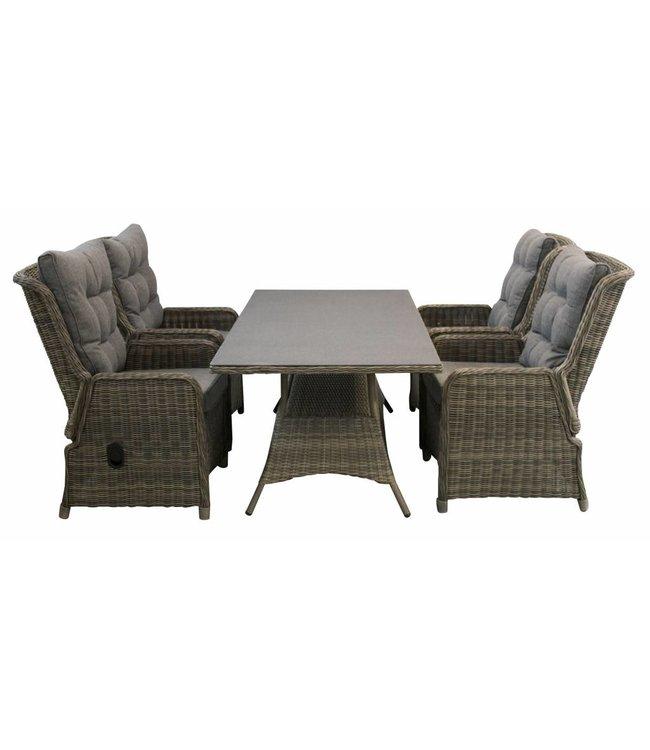4 Jahreszeiten Gartenmöbel 5-Teiliges Gartenset 4 Milano Verstellbare Gartenstühle (Sweat Brown) / Tisch 160 cm mit Keramik platte (Sweat Brown)