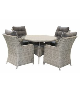 4-jahreszeiten gartenmoebel 5-Teiliges Gartenset 4 Milano Gartenstühle (Mystic Grey) / Tisch 120 cm rund mit Keramik platte (Mystic Grey)