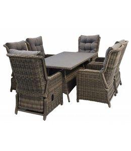 4-jahreszeiten gartenmoebel Milano 7-teiliges Gartenset mit 6 verstellbaren Sitzen und 180 cm Tisch (SW)