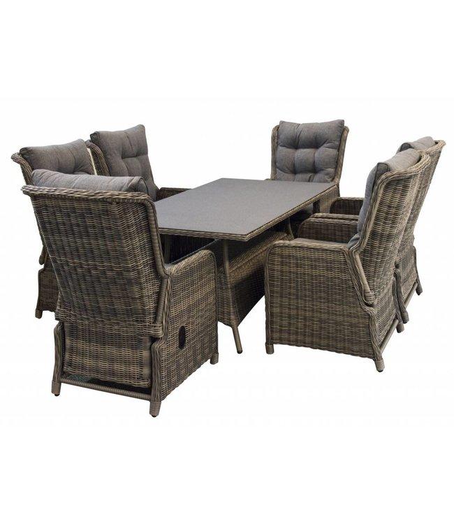 4 Jahreszeiten Gartenmöbel 7-Teiliges Gartenset 6 Dublin verstellbare  Gartenstühle (Sweat Brown) / Tisch 180 cm mit Keramik platte (Sweat Brown)