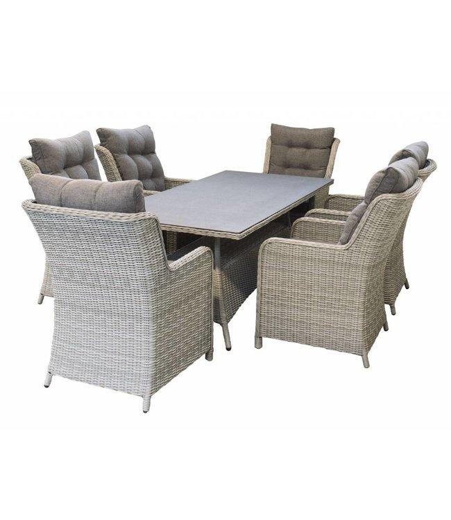 4-jahreszeiten gartenmoebel 7-Teiliges Gartenset 6 Milano Gartenstühle (Mystic Grey) / Tisch 180 cm mit Keramik platte (Mystic Grey)
