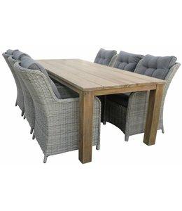 4 Jahreszeiten Gartenmöbel 7-Teilige Gartenset 6 Venezia Gartenstühle (Mystic Grey) + Jakarta Teak Tisch 240cm