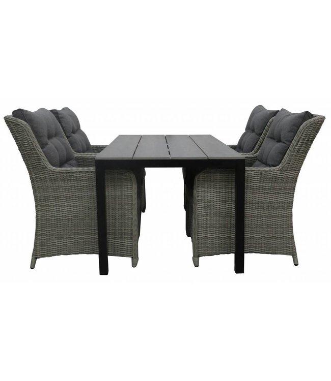 4-jahreszeiten gartenmoebel 5-Teilige Gartenset 4 Milano Gartenstühle (Ash Grey) + Gartentisch 160 cm/180 cm Polywood (Grey)