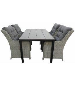 4-jahreszeiten gartenmoebel 5-Teilige Gartenset 4 Milano Gartenstühle (Mystic Grey) + Gartentisch 160 cm/180 cm Polywood (Grey)