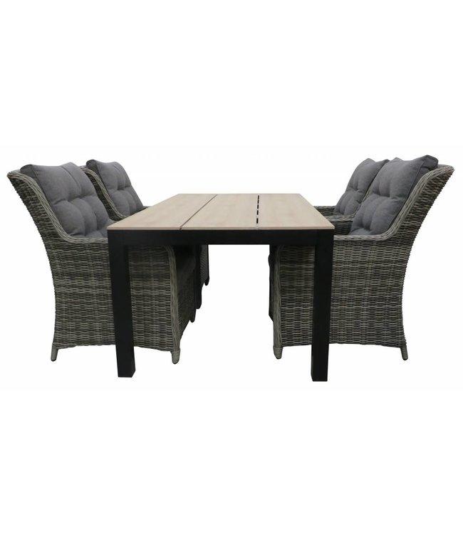 4-jahreszeiten gartenmoebel 5-Teiliges Gartenset 4 Milano Gartenstühle (Ash Grey) / Limasol tisch 160 cm / 180 cm  Polywood (Wood)