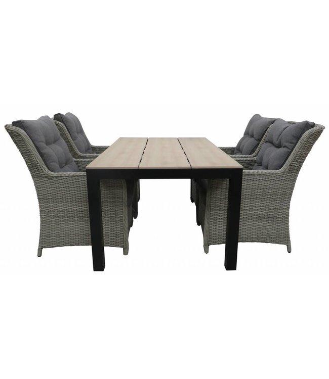 4-jahreszeiten gartenmoebel 5-Teilige Gartenset 4 Milano Gartenstühle (Mystic Grey) + Gartentisch 160 cm/180 cm Polywood (Wood)