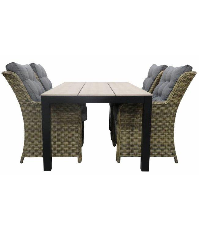 4-jahreszeiten gartenmoebel 5-Teilige Gartenset 4 Milano Gartenstühle (Naturel) + Gartentisch 160 cm/180 cm Polywood (Wood)