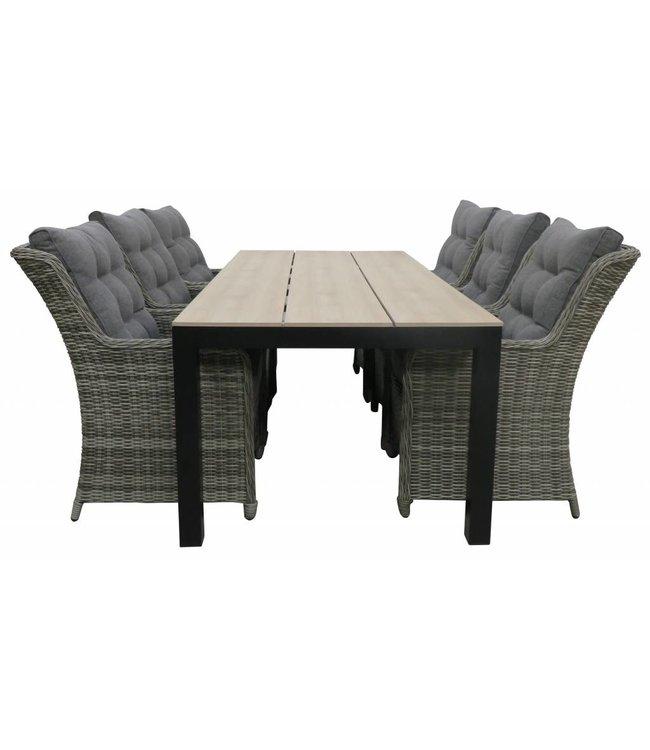 4-jahreszeiten gartenmoebel 7-teiliges Gartenset 6 Milano Stühle Ash Grey  225 cm Limasol Gartentisch Wood