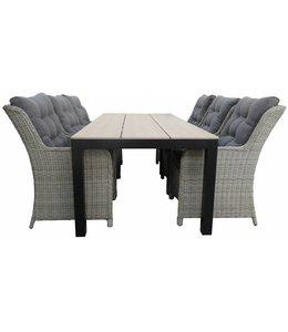 4-jahreszeiten gartenmoebel 7-Teiliges Gartenset 6 Milano Gartenstühle (Mystic Grey) / Limasol tisch 225 cm Polywood (Wood)