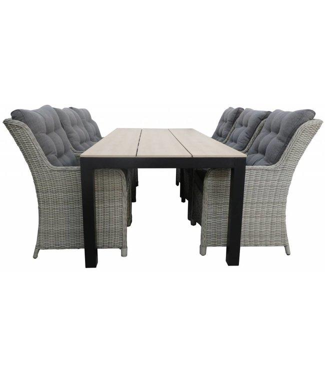 4 Jahreszeiten Gartenmöbel 7-Teiliges Gartenset 6 Dublin Gartenstühle (Mystic Grey) / Limasol tisch 225 cm Polywood (Wood)