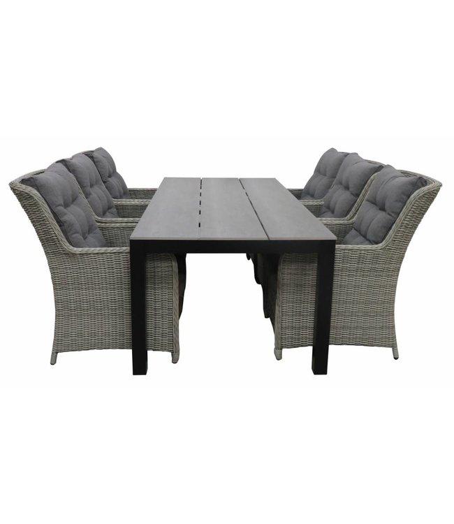 4-jahreszeiten gartenmoebel 7-Teilige Gartenset 6 Milano Gartenstühle Mystic Grey / Limasol Tisch 225 cm Polywood (Anthrazit)