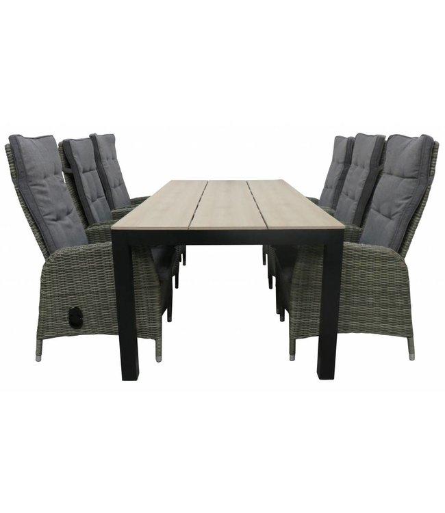 4-jahreszeiten gartenmoebel 7-Teilige Gartenset 6 Palermo verstellbare Gartenstühle (Ash Grey) / Limasol Gartentisch 225 cm Polywood (Wood)