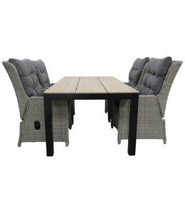 4-jahreszeiten gartenmoebel 5-Teilige Gartenset 4 Milano verstellbare Gartenstühle (Mystic Grey) / Limasol tisch 160 cm / 180 cm  (Wood)