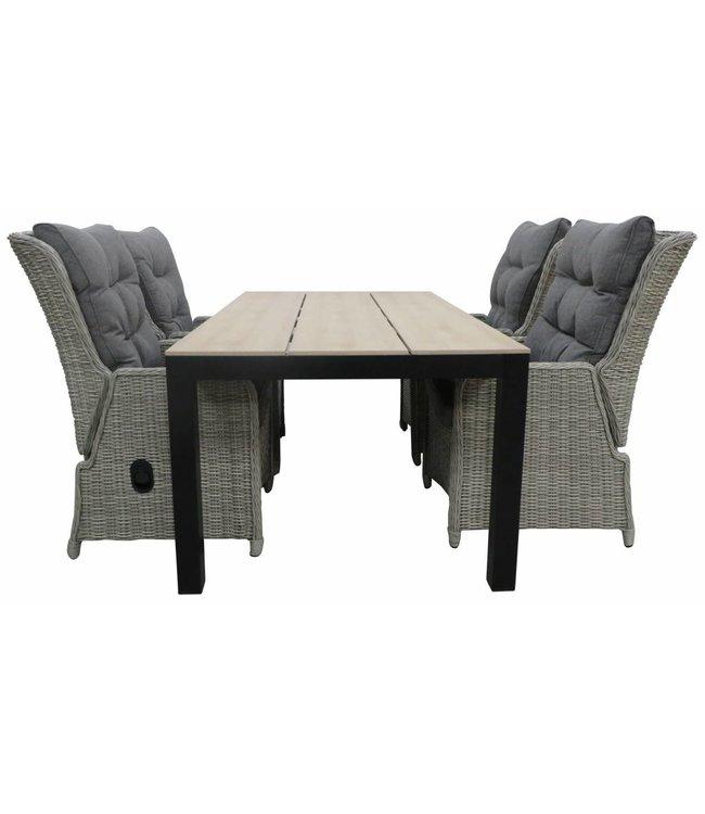 4 Jahreszeiten Gartenmöbel 5-Teilige Gartenset 4 Dublin verstellbare Gartenstühle (Mystic Grey) / Limasol tisch  Polywood 160 cm / 180 cm  (Wood)