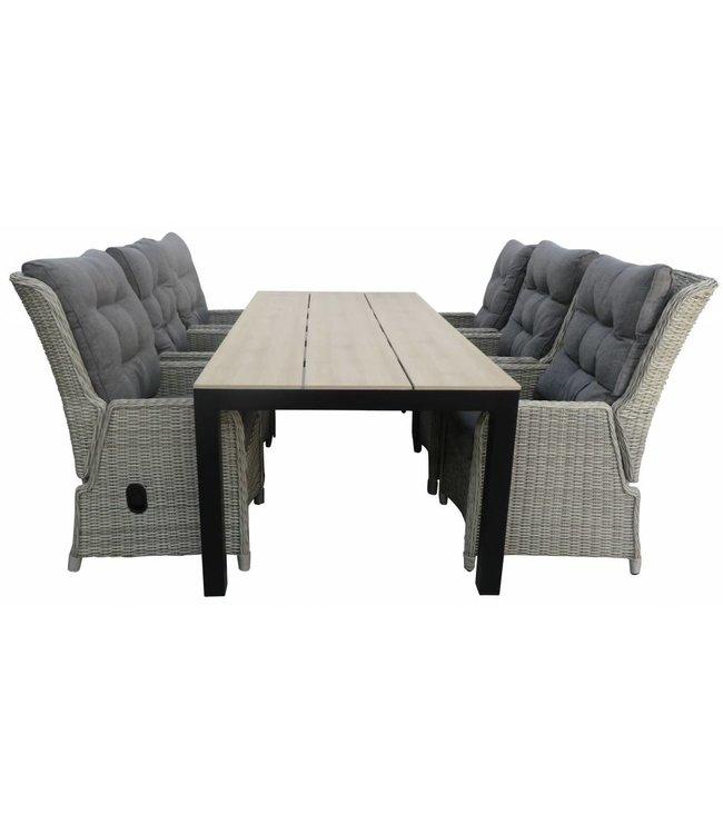 4-jahreszeiten gartenmoebel 7-Teilige Gartenset 6 Milano verstellbare Gartenstühle  (Mystic Grey) / Limasol tisch 225 cm Wood