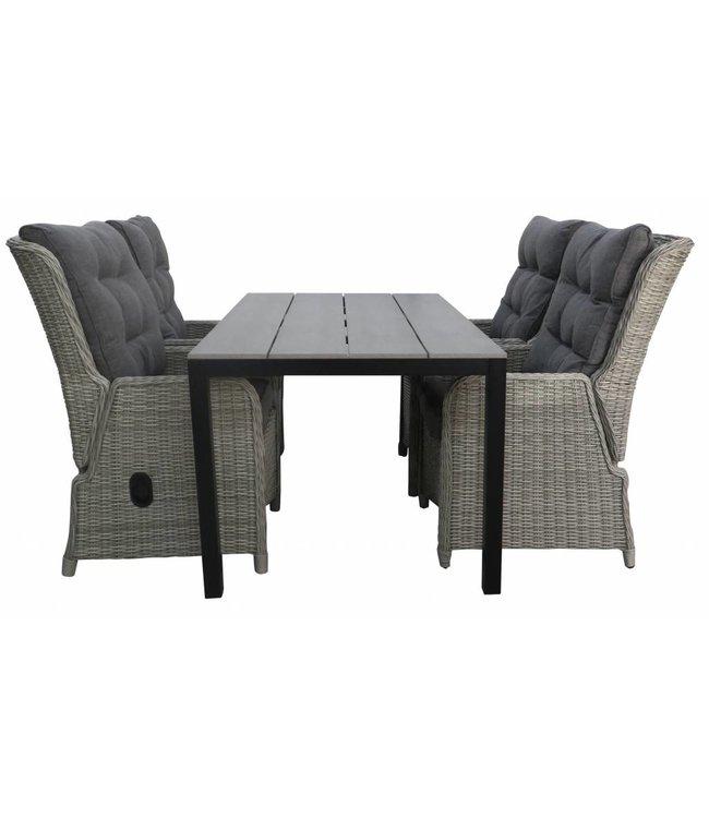 4-jahreszeiten gartenmoebel 5-Teilige Gartenset 4 Milano verstellbare Gartenstühle  (Mystic Grey) / Limasol Tisch 160 cm / 180 cm Anthrazit