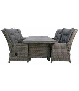 4-jahreszeiten gartenmoebel 7-Teilige Gartenset 6 Milano verstellbare Stuhle (Ash Grey) mit 230 cm Tisch mit Keramik platte (Ash Grey)