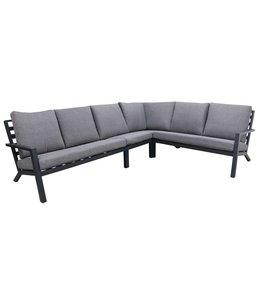 4-jahreszeiten gartenmoebel 4-teiliges Corner Lounge Set | Bolzano | Matt Schwarz / Grau | Aluminium
