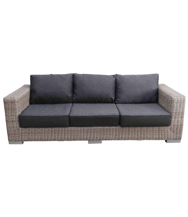 4 Jahreszeiten Gartenmöbel 3-Personen-Loungesofa | Prince | Mystic Grey | runde Weide