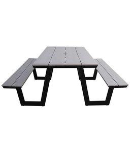 4-jahreszeiten gartenmoebel Picknicktisch | Coffee Bay | Grey | Aluminium & Polywood