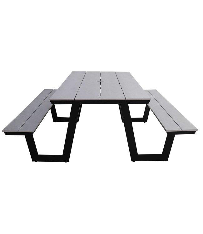 4 Jahreszeiten Gartenmöbel Picknicktisch   Coffee Bay   Grey   Aluminium & Polywood