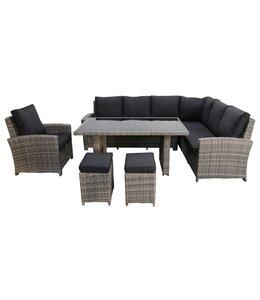 4 Jahreszeiten Gartenmöbel Lounge - Diningset | Capetown Rechts | Aschgrau | Wicker