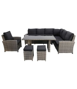 4 Jahreszeiten Gartenmöbel Lounge - Diningset | Durban Rechts | Aschgrau | Rattan
