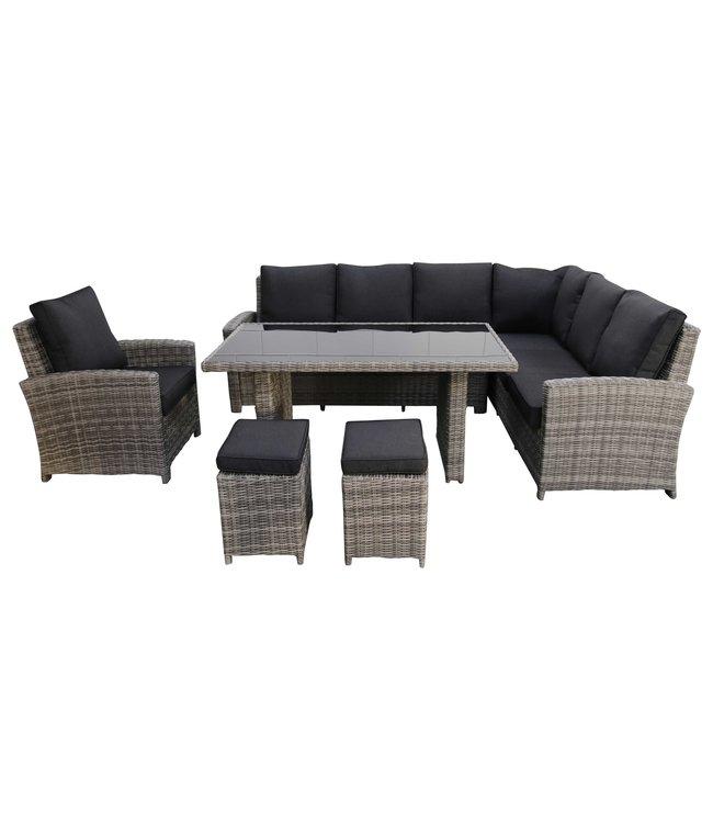 4-jahreszeiten gartenmoebel Lounge -Set | Capetown rechts | Aschgrau | Wicker