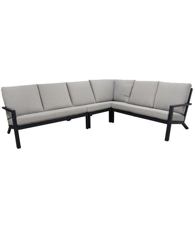 4-jahreszeiten gartenmoebel 4-teiliges Corner Lounge Set | Bolzano | Matt Schwarz / Off White | Aluminium