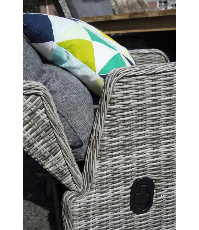 4-jahreszeiten gartenmoebel 5-teiliges Gartenset | 4 Milano verstellbare Gartenstühle (AG) | Cm 120 cm Gartentisch | Weidenkeramik