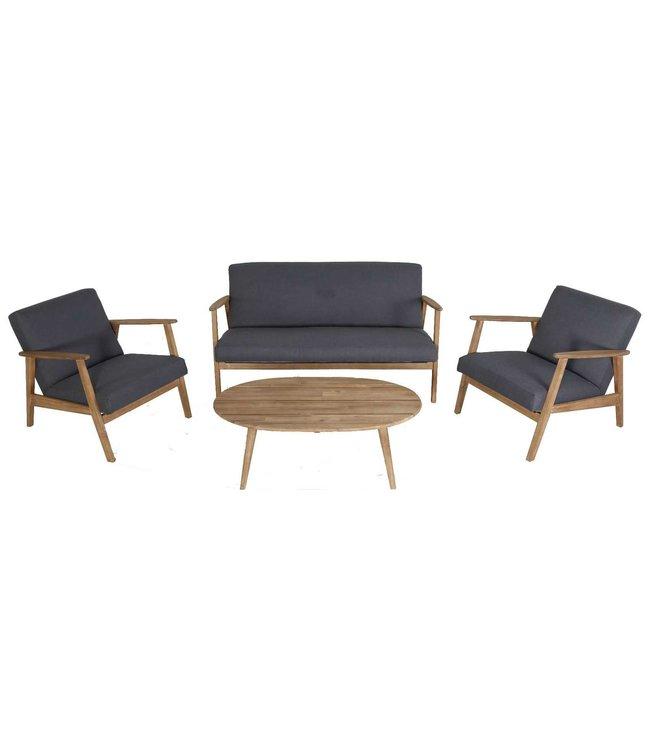 Eurofar Garden Furniture 4-teiliges Narvik Lounge Set | Grau | Akazienholz Eurofar
