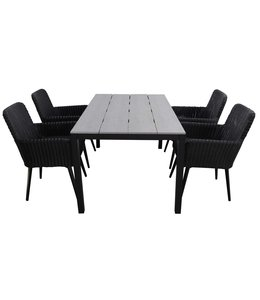 4-jahreszeiten gartenmoebel 5-teiliges Gartenset | 4 Pisa Sitze (schwarz) | 160 cm Limasol Gartentisch Anthrazit
