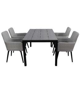 4-jahreszeiten gartenmoebel 5-teiliges Gartenset | 4 Pisa Stühle (Weiß) | 160 cm Limasol Gartentisch Anthrazit