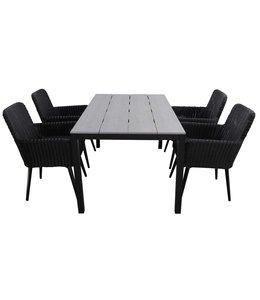 4-jahreszeiten gartenmoebel 5-teiliges Gartenset | 4 Pisa Sitze (schwarz) | 180 cm Gartentisch