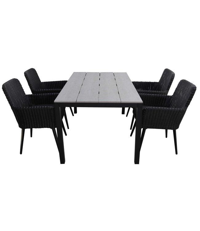 4 Jahreszeiten Gartenmöbel 5-teiliges Gartenset | 4 Pisa Sitze (schwarz) | 180 cm Gartentisch