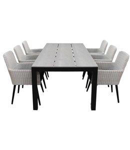 4-jahreszeiten gartenmoebel 7-teiliges Gartenset | 6 Pisa Stühle (Weiß) | 225 cm Gartentisch