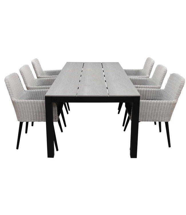 4-jahreszeiten gartenmoebel 7-teiliges Gartenset | 6 Pisa Stühle (Weiß) | 225 cm Gartentisch Anthrazit