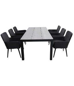4-jahreszeiten gartenmoebel 7-teiliges Gartenset | 6 Pisa Stühle (schwarz) | 225 cm Gartentisch Limasol Grey