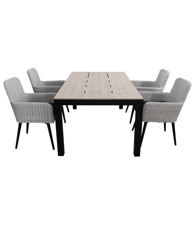 4-jahreszeiten gartenmoebel 5-teiliges Gartenset | 4 Pisa Stühle (Weiß) | 160 cm Limasol Gartentisch Wood