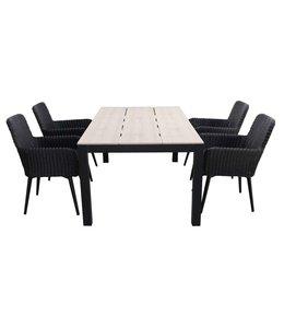 4-jahreszeiten gartenmoebel 5-teiliges Gartenset | 4 Pisa Sitze (schwarz) | 180 cm Limasol Gartentisch Wood