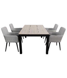 4-jahreszeiten gartenmoebel 5-teiliges Gartenset | 4 Pisa Stühle (Weiß) | 180 cm Limasol Gartentisch Wood