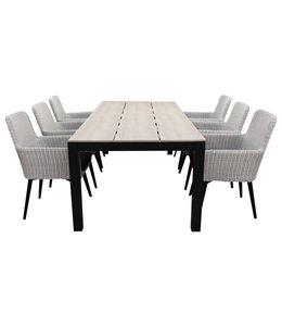 4-jahreszeiten gartenmoebel 7-teiliges Gartenset | 6 Pisa Stühle (Weiß) | 225 cm Limasol Gartentisch (Wood)