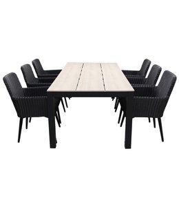 4-jahreszeiten gartenmoebel 7-teiliges Gartenset | 6 Pisa Stühle (schwarz) | 225 cm Limasol Gartentisch Wood
