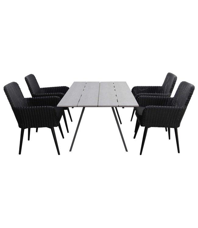 4-jahreszeiten gartenmoebel 5-teiliges Gartenset | 4 Pisa Sitze (schwarz) | 160 cm Gartentisch Emma