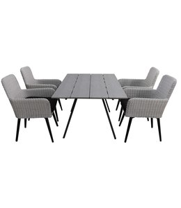 4-jahreszeiten gartenmoebel 5-teiliges Gartenset | 4 Pisa Stühle (Weiß) | 160 cm Gartentisch Emma