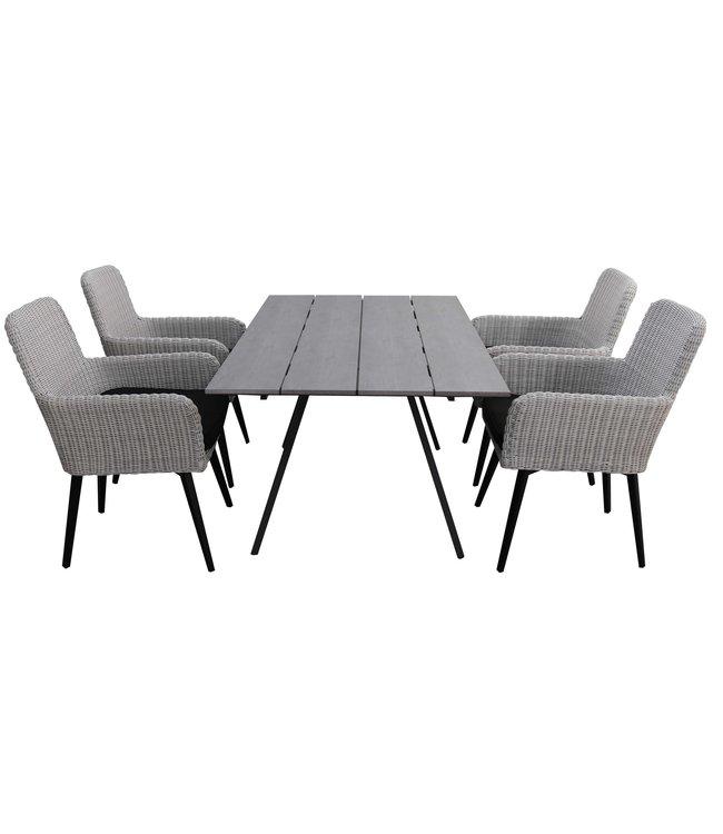 4 Jahreszeiten Gartenmöbel 5-teiliges Gartenset   4 Pisa Stühle (Weiß)   160 cm Gartentisch Emma