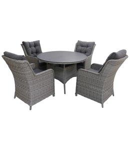 4-jahreszeiten gartenmoebel 5-teiliges Gartenset | 4 Milano Sitze | 120 cm runder Gartentisch mit Keramik platte (Mystic Grey)