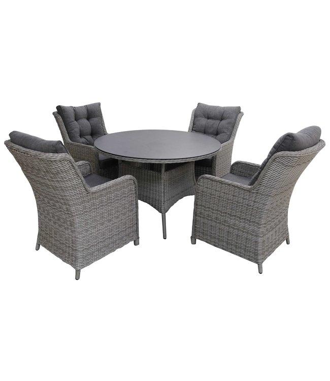 4-jahreszeiten gartenmoebel 5-teiliges Gartenset   4 Milano Sitze   120 cm runder Gartentisch mit Keramik platte (Mystic Grey)