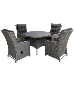 4-jahreszeiten gartenmoebel 5-teiliges Gartenset | 4 Milano verstellbare Sitze | 120 cm runder Gartentisch aus Keramik (Mystic Grey)